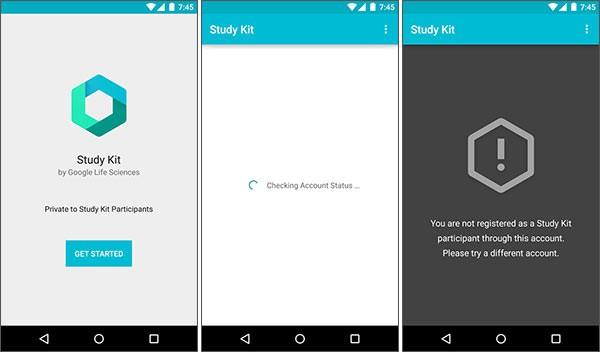 Screenshot per l'applicazione Study Kit di Google su smartphone Android