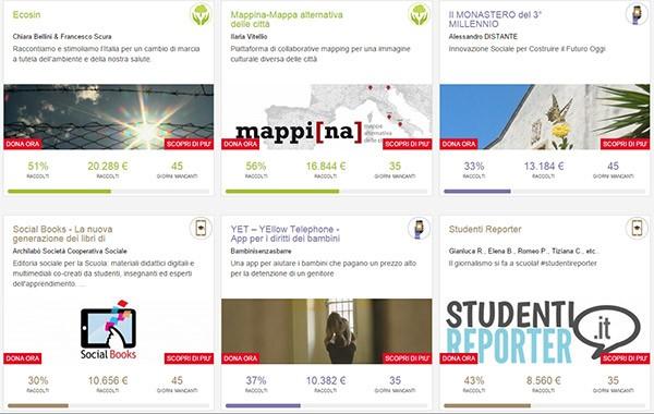 Alcuni dei progetti in fase di finanziamento sulla piattaforma WITHYOUWEDO di Telecom Italia