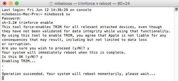 Trim su OS X