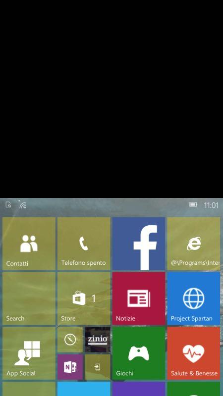 Windows 10 Mobile, utilizzo con una mano sola