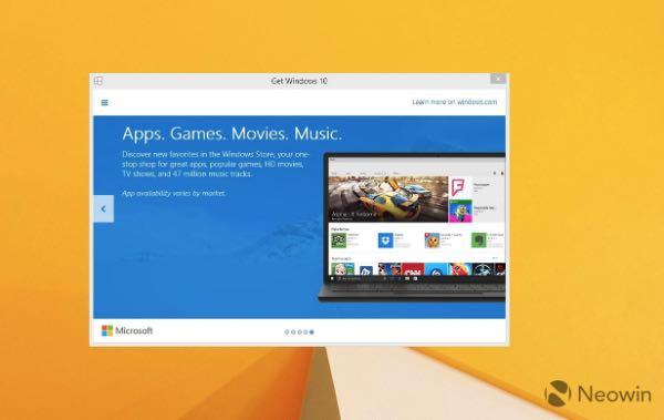 Windows 10, prenotare l'upgrade