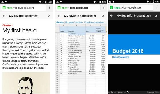 Aprendo un doc nel browser mobile, l'interfaccia è ora simile per tutte le tipologie di file: Documenti, Fogli e Presentazioni