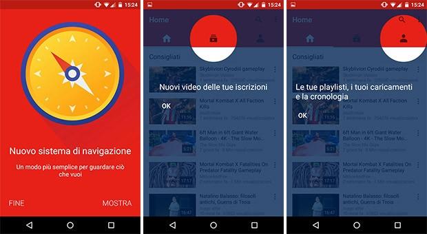 La nuova interfaccia dell'applicazione YouTube su smartphone Android