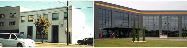 Nella foto a sinistra il primo magazzino di Amazon.com, a Seattle. Era il 1995. Ed era il garage di Bezos. A destra, il centro di distribuzione in Italia, a Castel San Giovanni: inaugurato nel 2013, si estende per 85 mila mq e ci lavorano più di 600 persone. Nel momento del picco di vendite, poco prima di Natale, è in grado di processare diversi ordini al secondo e spedire *** pacchi in una sola giornata.