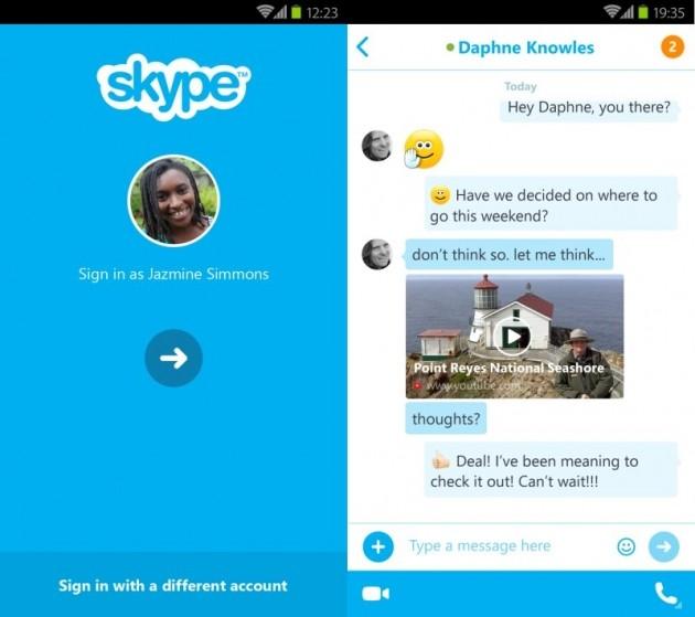 Accesso veloce (sinistra) e anteprima link (destra) in Skype 5.5 per Android.