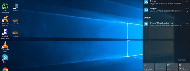 Windows 10, il nuovo Action Center
