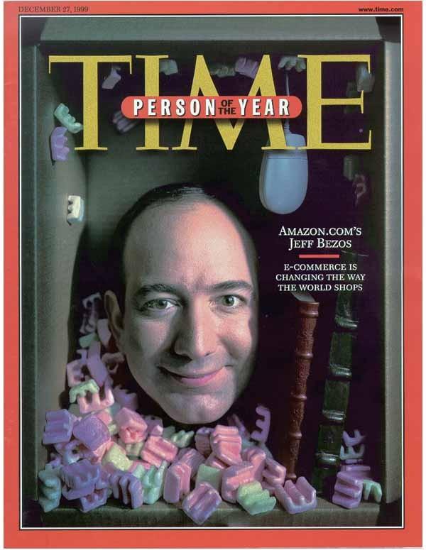 L'ultimo numero dell'anno è tradizionalmente dedicato a un personaggio. La copertina più ambita nel 1999 è stata dedicata a Jeff Bezos, fondatore di Amazon. Una scelta profetica: pochi mesi dopo lo scoppio della prima bolla speculativa sulla new economy fece sparire molte realtà Internet degli anni Novanta. Ma non Bezos, che anzi da quel momento non ha più smesso di crescere.
