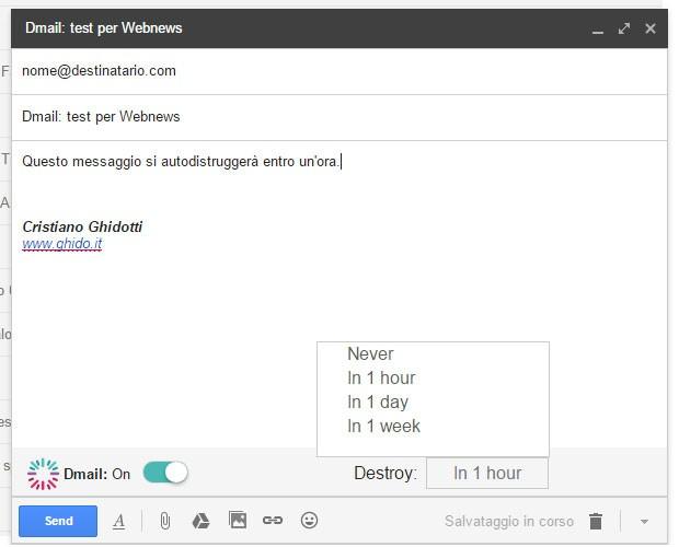Dmail: l'estensione di Chrome per l'autodistruzione delle email