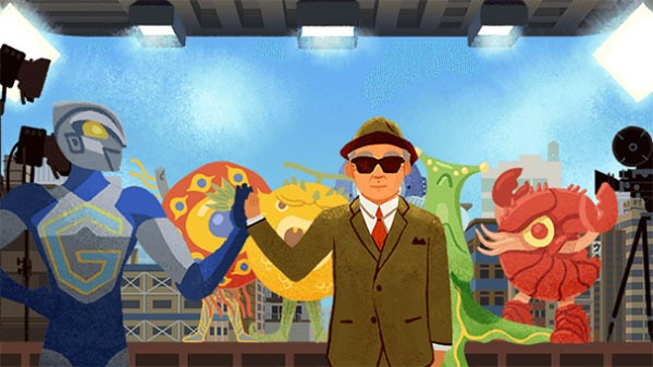 Il doodle animato e interattivo dedicato oggi da Google a Eiji Tsuburaya