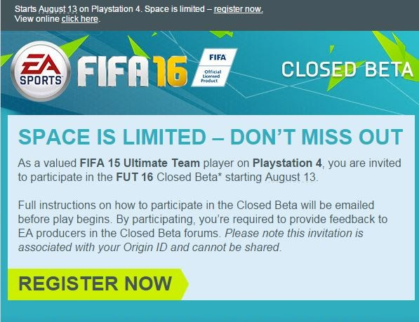 L'invito a partecipare alla closed beta di FIFA 16 inviato da EA Sports