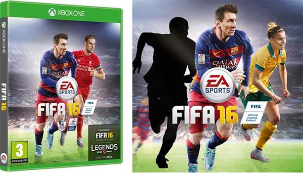 Le cover di FIFA 16 in UK e in Irlanda (sinistra) e in Australia (destra)
