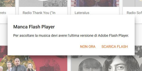 Su Firefox il client di Google Play Musica obbliga all'installazione del Flash Player