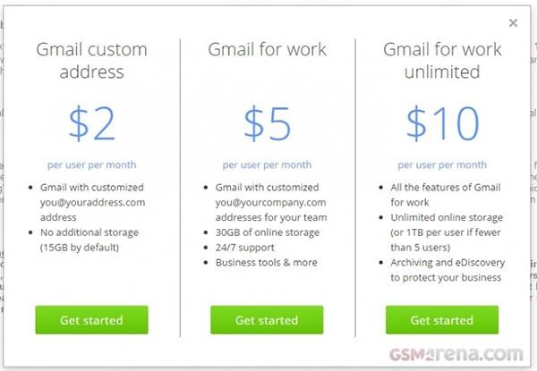 I prezzi praticati da Google per ottenere un indirizzo di posta elettronica personalizzato su Gmail