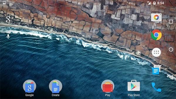 La modalità landscape per la homescreen, su Nexus 6 con la Developer Preview 2 di Android M