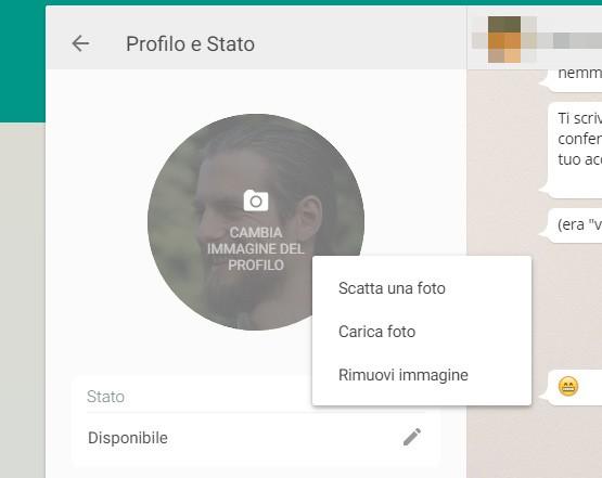 WhatsApp Web ora permette di cambiare l'immagine del profilo