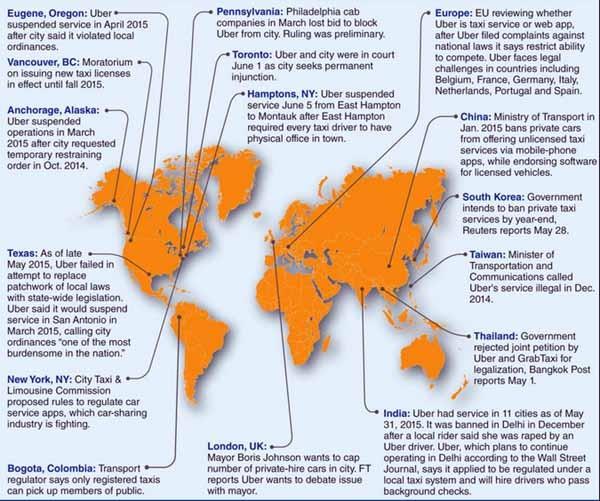 Nella mappa l'attuale situazione delle diatribe legali di Uber nel mondo. La compagnia deve affrontare le proteste - a volte violente, come in Francia - dei tassisti di paese in paese, a volte di città in città, con diverse regole. Uber è sospeso in alcuni stati, ed è arrivato in tribunale in 41 tra stati e città americani. Uber è illegale in Cina e potrebbe diventarlo in Corea del sud, mentre è bloccato a Taiwan e Filippine. A Londra il sindaco è interessato a ragionare con Uber, in India la situazione è molto spezzettata.