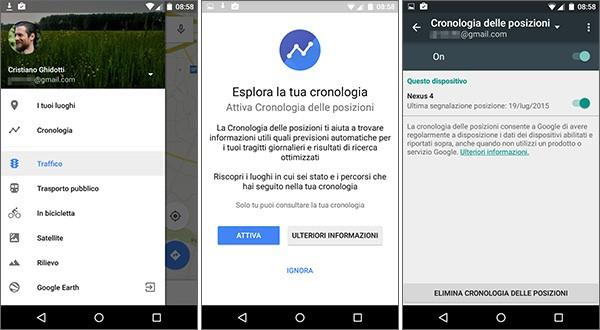 La nuova sezione Cronologia introdotta nell'applicazione Android di Google Maps