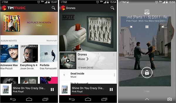 Screenshot per l'applicazione TIMmusic su smartphone Android