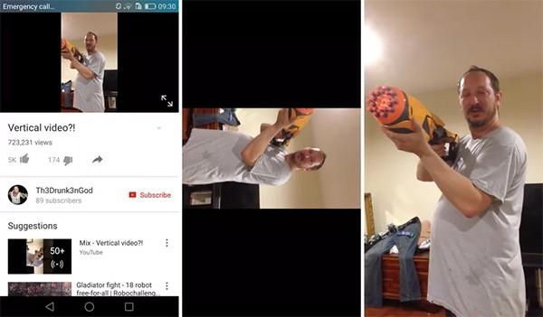 La nuova gestione dei video verticali in modalità full screen da parte dell'app YouTube per dispositivi Android (nell'ultima immagine a destra)