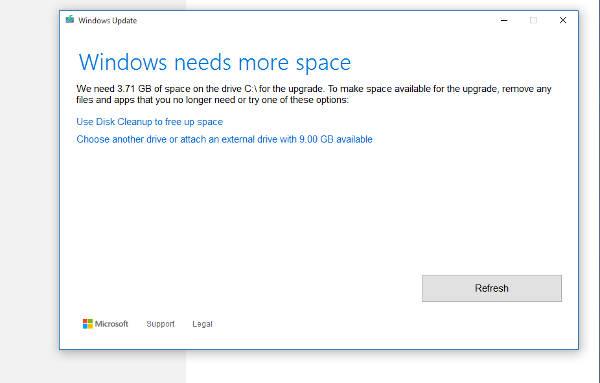 Windows 10: upgrade più facile con poco spazio