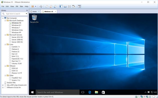 Windows 10 in VMware Workstation 12 Pro.
