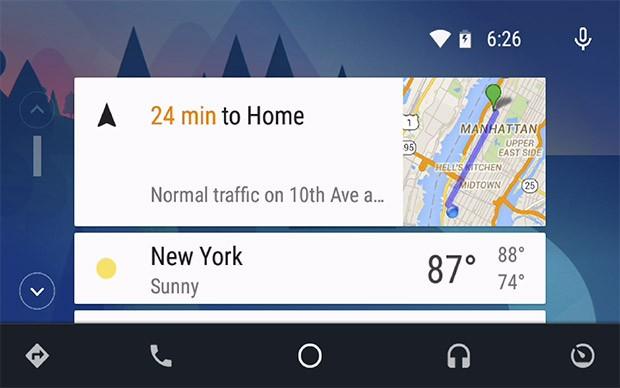 L'interfaccia della dashboard di Android Auto