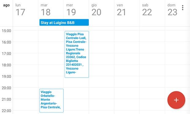 Gli eventi di Gmail creati all'interno di Google Calendar