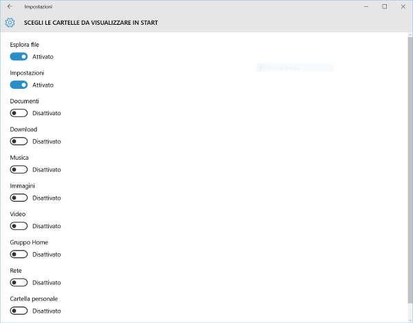 Personalizzazione Cartelle menu Start