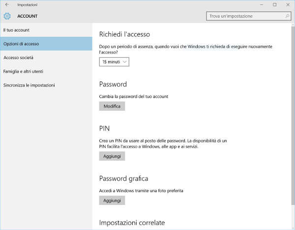 Modifica password Windows 10