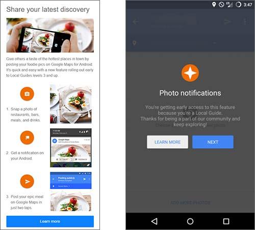 Screenshot per la nuova funzionalità di Google Maps che consente di condividere pubblicamente le foto di cibi e pietanze preparati in bar o ristoranti