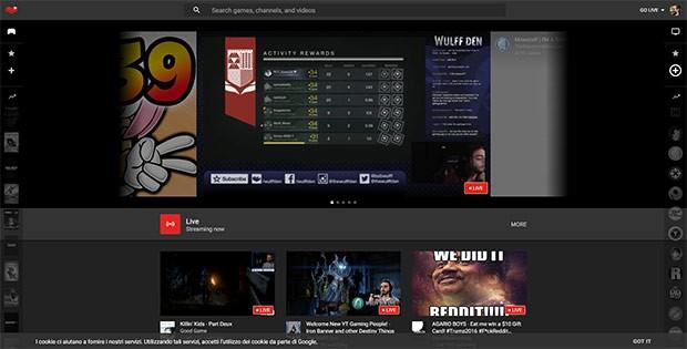 L'interfaccia Web di YouTube Gaming