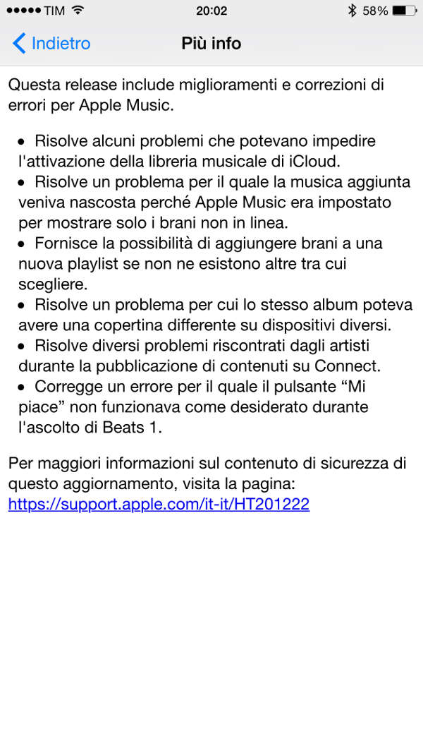 Change Log iOS 8.4.1