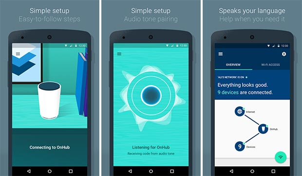 Screenshot per l'applicazione ufficiale di OnHub su smartphone Android