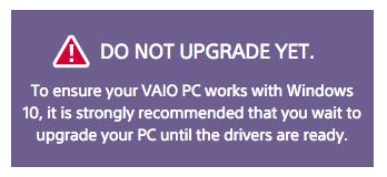 Sony Vaio, upgrade a Windows 10