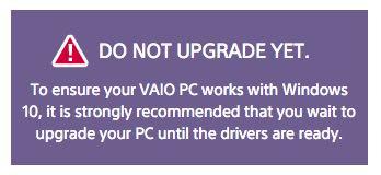 Sony Vaio, upgrade a Windows 10