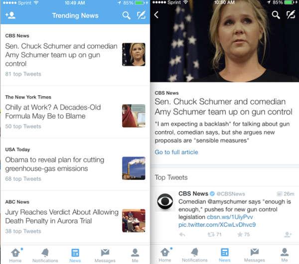 Twitter, la nuova tab notizie