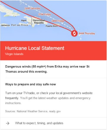 Gli avvisi di Google sugli uragani