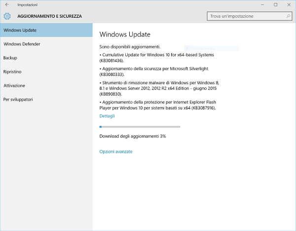 Windows 10, nuovo aggiornamento cumulativo