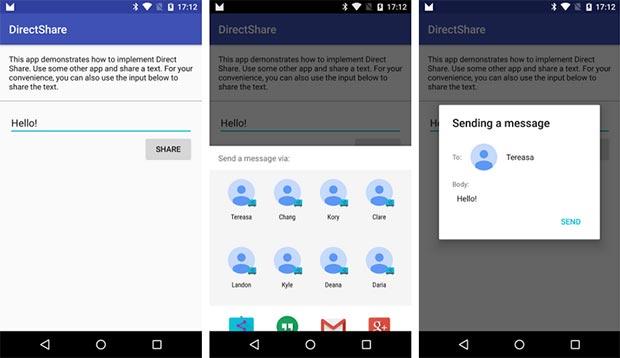 Screenshot per l'applicazione Android Direct Share di Google