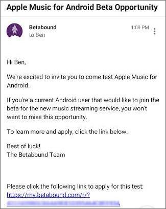 L'invito alla beta di Apple Music su Android