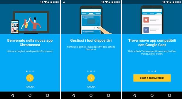 Le novità introdotte da Google nell'applicazione Android di Chromecast