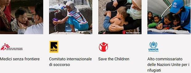 I destinatari delle donazioni raccolte da Google