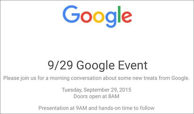 L'invito per l'appuntamento organizzato da Google a San Francisco il 29 settembre