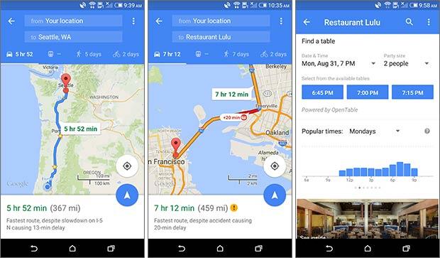 Screenshot per le novità introdotte da Google nella versione 9.14 dell'applicazione Google Maps per dispositivi Android