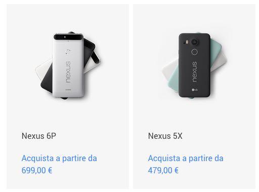 Nexus 5X e Nexus 6P, possibili prezzi italiani