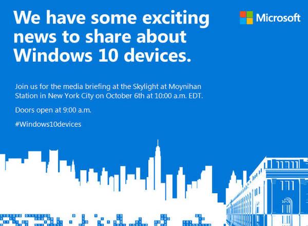 Microsoft: il 6 ottobre nuovi Lumia e Surface Pro 4