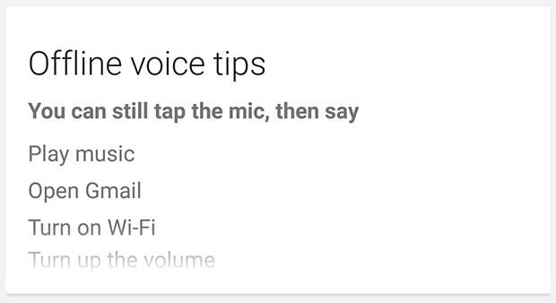 Alcuni dei comandi vocali riconosciuti da Google Now in modalità offline