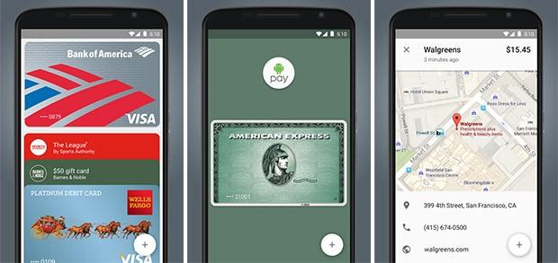 Screenshot per l'applicazione ufficiale di Android Pay in esecuzione su smartphone Android