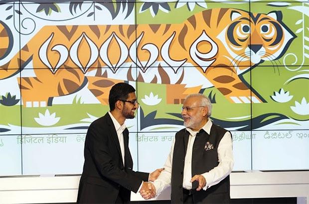 La stretta di mano tra Sundar Pichai (CEO di Google) e Narendra Modi (Primo Ministro indiano)