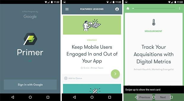 Screenshot per l'applicazione Primer di Google, su smartphone Android